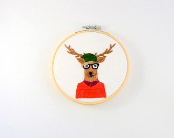 Hipster Deer Hoop Art - Hand Embroidered Deer Wall Hanging - Deer with glasses, slouchy hat and a sweet sweater Darla Deerston