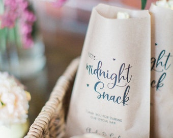 50 Candy Bags - Midnight Snack - Kraft Wedding Favour Paper Bags