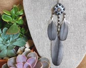 Single Orgone Statement Earring - 'Spirit Jewels' - Hematite - Crystal Healing Boho Festival Jewellery - Ethical Feathers - Medium