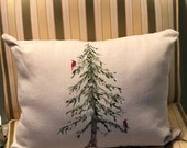 Hand Painted Holiday Pillow with Two Red Cardinals and Tree