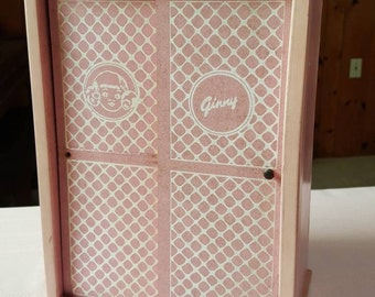 Vintage Vogue Ginny Doll Wooden Wardrobe with Hangers 1950s  C401