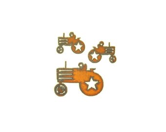 Tractor Rusty Metal Pendant/Charm And Earrings 3-Piece Set