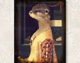 """Otter Art Print Animals In Clothes Sea Otter Woodland Animal Print Rustic Home Decor Anthropomorphic (3 sizes) """"Countess Daphne Peach"""""""