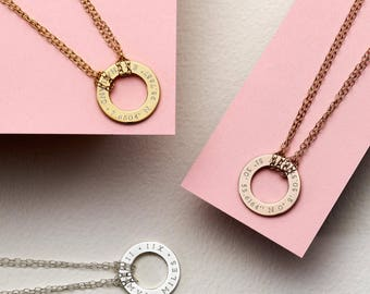 Personalised Eternity Necklace - Anniversary Necklace - Roman Numerals Necklace - Circle Necklace - Gift For Her - NC40