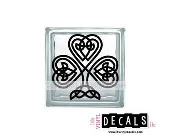 Celtic Shamrock  - St. Patrick's Day Vinyl Lettering for Glass Blocks - Irish Craft Decals