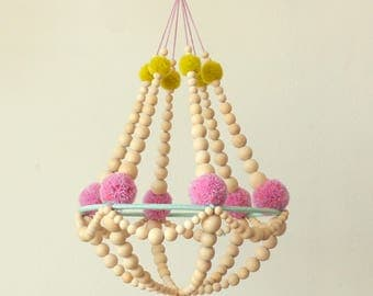 wooden beads and pompons/pom poms crown chandelier, yellow and lilac Tiffany blue,  ceiling decor, ceiling mobile, modern bohemian, handmade