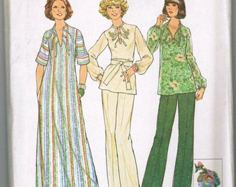 Vintage Simplicity 7466 Size 10 Misses Caftan or Top and Pants Transfer for Embroidery included