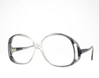 70s Eyeglasses | 1970s Vintage Glasses | Oversized Glasses Frames | Clear Gray Eyeglass | Seventies Deadstock Eyewear - Monta Carlo