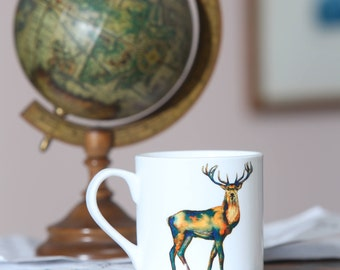 Iconic Scottish Stag mug; original watercolour printed on bone china mug