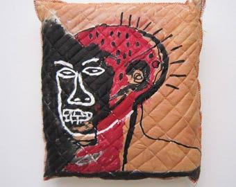 Wall art Basquiat inspiration home decoration red art special Valentine's day unisex gift graffiti pop art creative decorative pillow art