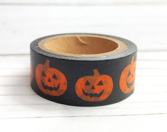 Halloween Washi Tape, Jack O'Lantern Craft Tape, Planner Sticker, Craft Tape, Decorative Craft Tape, Scrapbook Embellishment, Gift Wrap Tape