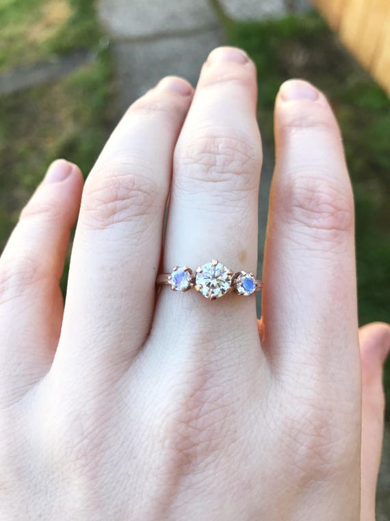 Moissanite and moonstone 14k rose gold engagement ring, rose gold moonstone engagement ring, moonstone engagement ring, moonstone twig ring