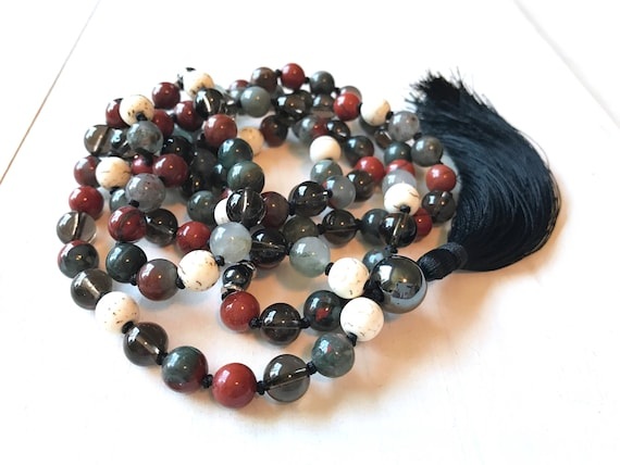 Root Chakra Mala Bead Necklace, Ganesha Mala Beads, Focus On Your Root Chakra, Bloodstone And Smoky Quartz Mala, Red Jasper And Hematite