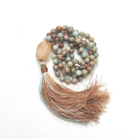 Citrine Mala Bead Necklace, African Opal Jasper and Silk Tassel Mala, Raw Citrine Guru Bead Mala, 108 Bead Meditation Mala, Yoga Mala Beads