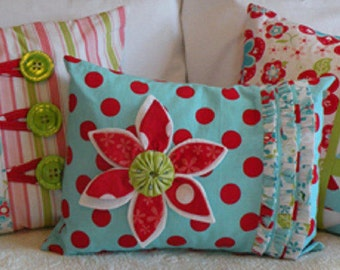 """Pillow Pattern """"Pop of Color"""" 6 Different Styles by All My Bags & Quilts Too!  Home Decor cute, easy Pillows"""