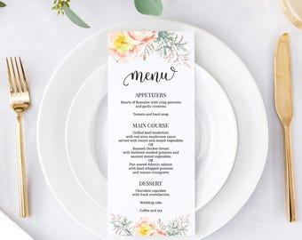 "Wedding menu 4x9"" (10) - Wedding menu cards - Printed menu card - Wedding menu - Floral menu - Dinner menu"
