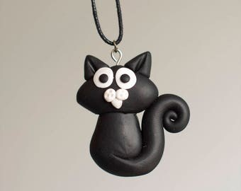 Black cat polymer clay pendant, cat pendant, black cat, cute cat, funny cat, animal pendant, black cat pendant, unisex pendant, pet pendant