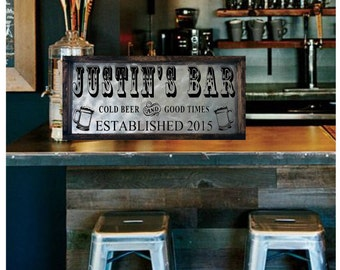 Personalized Bar Sign For Home, Custom Bar Sign, Bar Sign For Home, Craft Beer Sign, Home Brewing Sign, Galvanized Metal Bar Sign
