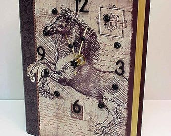Baroque Horse aCharm Clock for Desk, Table or Dresser - Adorable Clock and Treasure Box in One - Special Hiding Place - Personalize it!