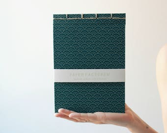 Handmade notebook, japanese bookbinding, japanese pattern notebook, blue notebook, traditional japanese pattern notebook, made in barcelona