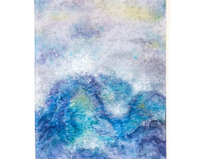 Wave Painting-Watercolor Silk Tapestry-Ocean Painting-Coastal Decor-Bohemian Decor-Nature Tapestry-Home Decor Gifts-Watercolor Home Decor
