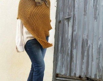 Womens poncho, mustard knitwear, wrap poncho, knit mustard poncho, poncho trends, casual knitwear, loose knitting, olive green cover
