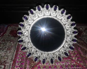 SCRYING MIRROR BLACK Mirror fortune telling Magic Mirror Wicca Divination Alter Tool Crystal Ball Gazing Gypsy Witch Looking Glass Pagan