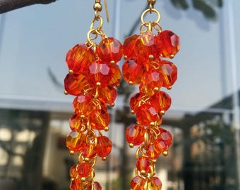 Orange Swarovski Crystal Dangling Earrings