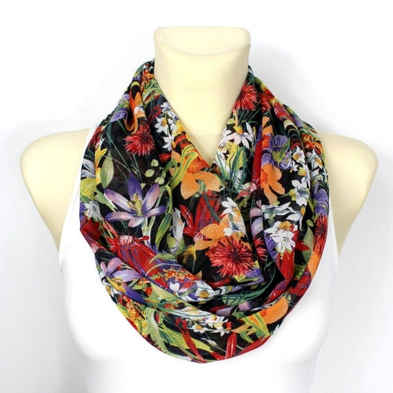 Infinity Scarf Floral Infinity Scarf Printed Scarf Unique Handmade Scarves Ladies Fashion Scarves  Gift Womens Summer Outdoors, Summer Party