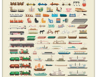 """Walt Disney World Attraction and Transportation Vehicles Poster 22"""" X 28"""""""