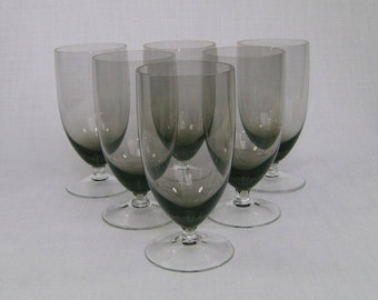 Six Smoked Crystal  Goblets