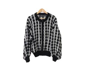 Vintage 70s/80s 3d Textured Knit Sweater Jacket Size L