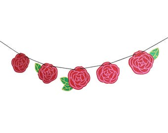 GLITTER ROSE GARLAND Wall Hanging - Red Rose Banner - Party Decorations - Room Decor - Enchanted Rose