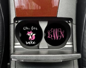 Pink Oh for fox sake, CoWorker Gift, Zero Given Cup Coaster, Car Cup Coaster, Custom Car Coaster, Funny Car Cup (CAR0004Pink)