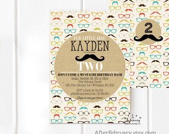 ANY AGE / Mustache Birthday Invitation, Boy Birthday Invitation, Boy First Second Birthday, Little Man Birthday Invites Printable No.808KIDS