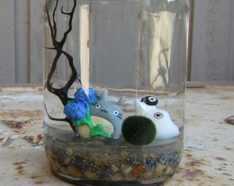 Marimo Terrarium Kit with Totoro and Soot Sprite - Totoro and Sea Fan Terrarium - Good Luck Gift - Gift for Anime Lover - Gift for Co-Worker