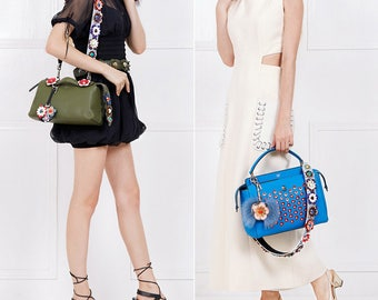 Leather Stud Bag Strap Colorful Leather flower Strap Removable Strap for Bag and Purses Interchangeable Strap SS001