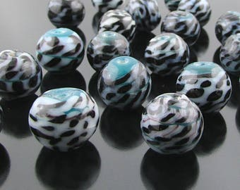 Round Lampwork Glass Beads, Teal, Black & White Wound Rondelles, 24 pc SB267