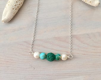 Lava Stone Necklace - Turquoise Stone Necklace - Oil Diffuser Necklace - Lava Bead Necklace - Aromatherapy Jewelry - Teal Stone Bar Necklace