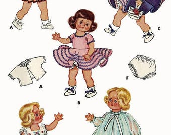 """Wardrobe Pattern For 7"""" to 8"""" Dolls Ginny, Riley, Muffie, Wendy, Alexander-Kins, Lingerie Lou, Daily Dolly Etc PDF Instant Download ePattern"""
