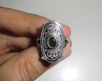 Tula 925 Silver ring with dark green stone Niello Tula silver floral Sterling Sterling vintage