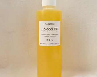 Golden Jojoba Oil (8 oz) - Organic Unrefined, Cold Pressed, Dry Skin Care, Carrier Oil, Moisturizer, Facial Oil, Natural Face Wash
