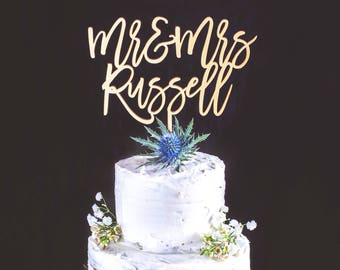Personalised Wedding Cake Topper Mr and Mrs Cake Topper With Last Name Customized Cake Topper for Wedding Custom Wedding Cake Topper SCRIPT