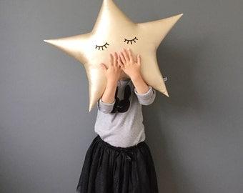 LARGE Star Cushion, Star Pillow, Sleepy Star Cushion, Gold Star, Baby Boy, Baby Girl, Nursery Decor, Modern Nursery, Baby Gift, Baby Shower