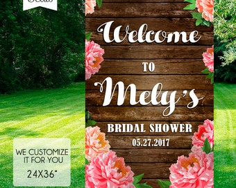BRIDAL SHOWER Welcome SIGN, Rustic Bridal Shower Sign, Rustic Bridal Shower Welcome Sign, Peonies Bridal Shower Welcome Sign