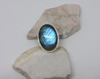 Large Labradorite Ring/Sterling Silver Labradorite Rings/Blue Flash Labradorite Ring/Genuine Labradorite Ring/High Blue Flash Stone/R0007