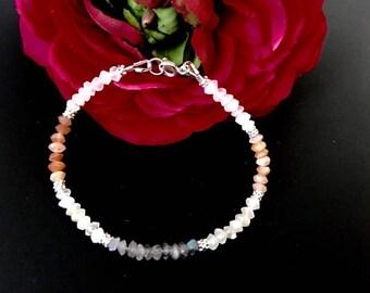 Dainty Rainbow Moonstone Minimalist Bracelet