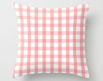 Pink Plaid Pillow, Decorative Pillow, Checkered Throw Pillow, Pillow Cover, 16x16 18x18 20x20, Pink and White, Plaid Pillow Case