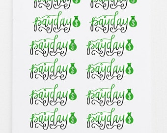 PayDay Stickers - 12 Hand-Lettered Planner Stickers - Budget Organization - Money Finance Planning - Pay Day Accessories - Scheduling Tool