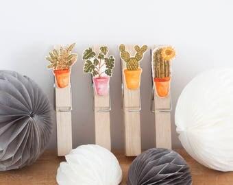 Potted Plant Fridgemagnet Pegs | Plant Pegs | Plant Fridgemagnets | Cacti Magnet Pegs | Illustrated Houseplants | Houseplant Magnets | Cacti